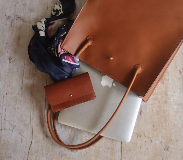 Hand stitched leather tote bag