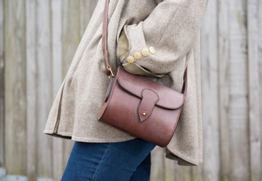 Hand stitched oak bark leather crossbody bag