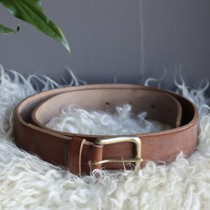 Mens oak bark tanned belt